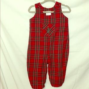 Vintage Red Plaid Romper Baby Place 6-9 M